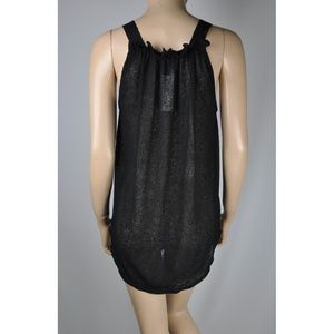 f05095292776b8 BB Dakota Tops - Black Sheer Transparent Button Up Tank Top Shirt